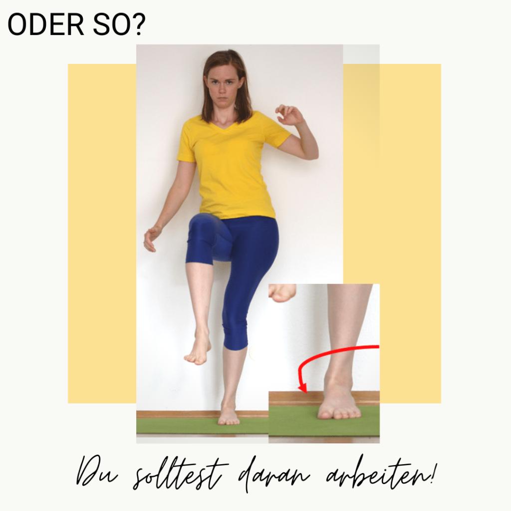 Einbeiniger Stand: Fuß schief